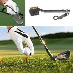 Mini doble lado Golf latón + Nylon Club de Golf cabeza Groove cepillo limpiador herramienta de limpieza con la suspensión de accesorios de Golf y accesorios
