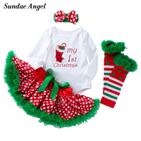 Sundae Angel Baby Girl Clothes Christmas Long Sleeve White Print Romper Headband Bowknot Skirts Leg Warmers Infant Outfit Sets