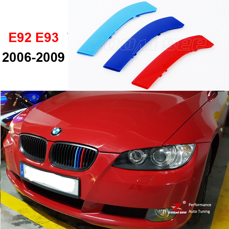 3D M color Front Grille Trim Strips grill Cover motorsport Stickers For 2006-2009 BMW 3 series E92 E93 320i 325i 330i 335i M3 3 series carbon front bumper racing grill grills for bmw f30 f31 standard sport 12 16 320i 325i 330i 340i non m3 style car cover