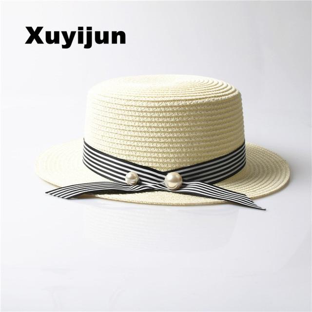 1a7fe83e0ae Xuyijun Lady Boater sun caps Ribbon Round Flat Top Straw beach hat Panama  Hat summer hats for women straw hat snapback gorras