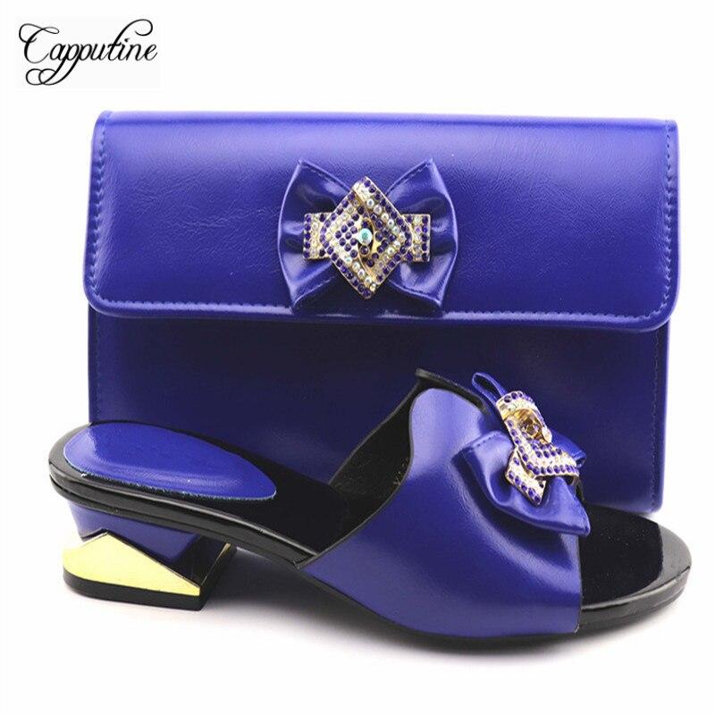 Nigeria Desgin femme chaussures et sac à main pour correspondre à l'ensemble Style italien bas talons pantoufle et sac ensemble pour la fête 4 couleur en gros TX-362