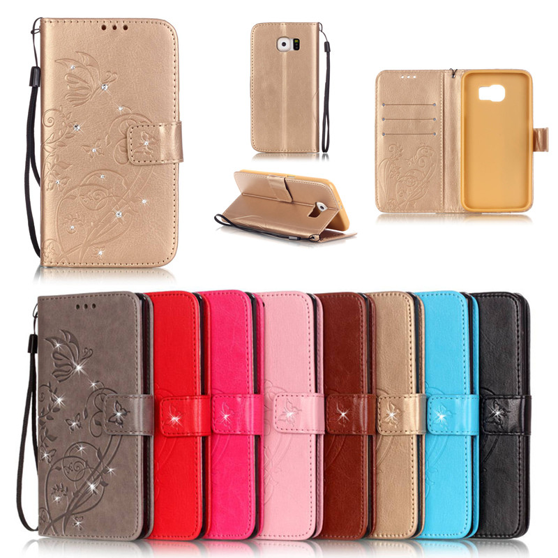 Bling Book Style Leather <font><b>Flip</b></font> Butterfly <font><b>Case</b></font> Cover For <font><b>Samsung</b></font> Galaxy S2 S3 S4 <font><b>S5</b></font> <font><b>Mini</b></font> S6 Edge Plus S7 S7 Edge Phone Bags+Strap image