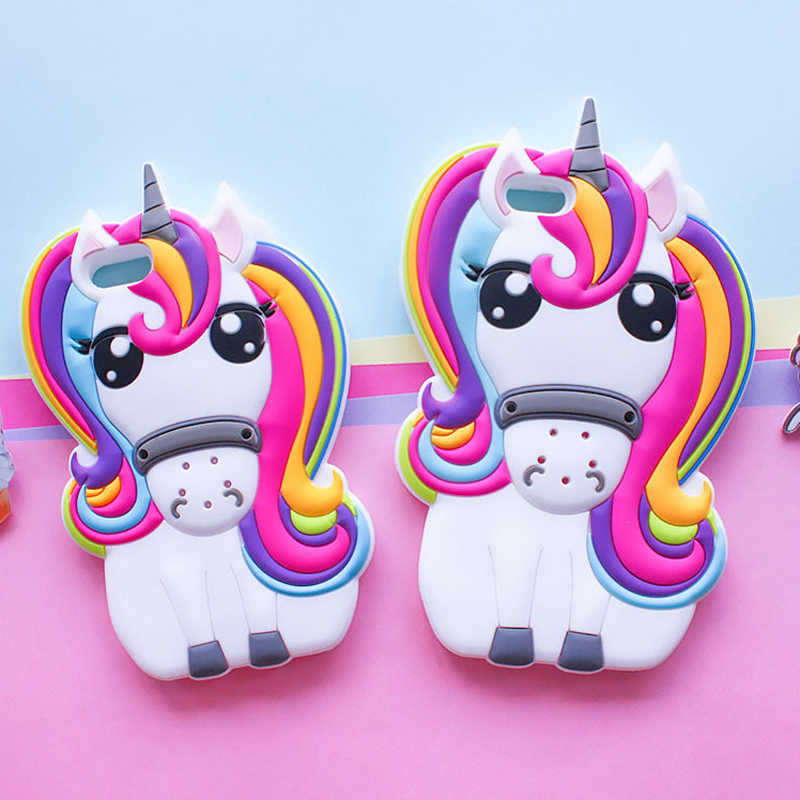 3D Cartoon Rainbow Unicorn Case For iPhone 4 4s 5 5S 5C SE 6 6S 7 8 6s Plus iPhone X  Cute Soft Silicone Phone Cover
