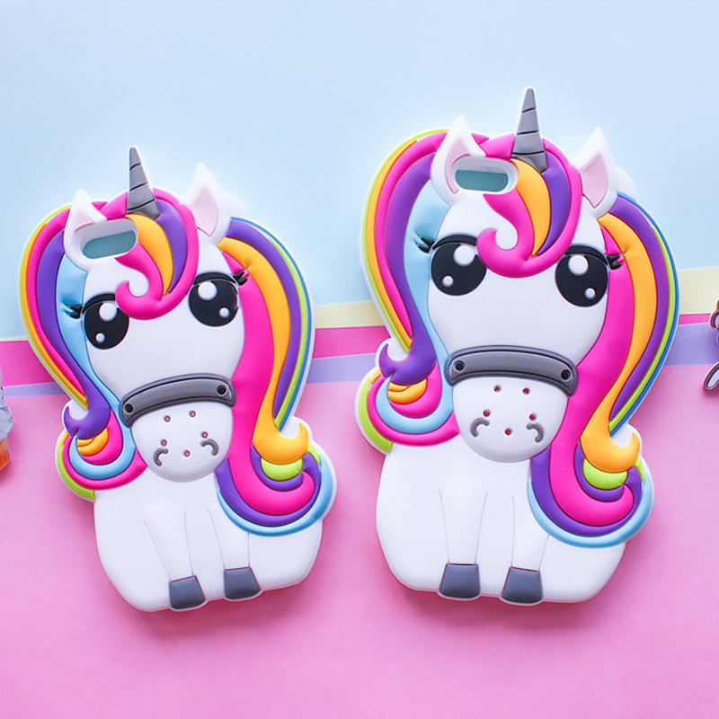 <font><b>3D</b></font> Cartoon Rainbow Unicorn <font><b>Case</b></font> For <font><b>iPhone</b></font> 4 4s 5 5S 5C SE 6 6S 7 8 6s Plus <font><b>iPhone</b></font> <font><b>X</b></font> Cute Soft <font><b>Silicone</b></font> Phone Cover image