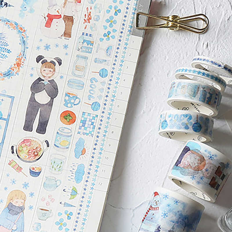 6 unids/lote Cute Autumn Washi Tape Set Bullet diario invierno Masking Tape Kawaii DIY cinta adhesiva decorativa papelería japonesa