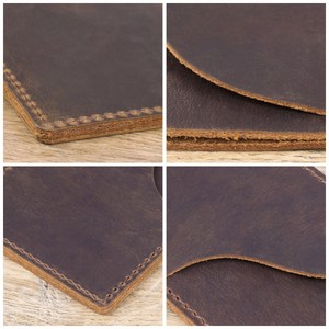 Image 4 - 100 pieces / lot 9.8x7cm Genuine Cow Leather Business ID Card Holder Crazy Horse Leather Travel Credit Wallet Men Purse Case