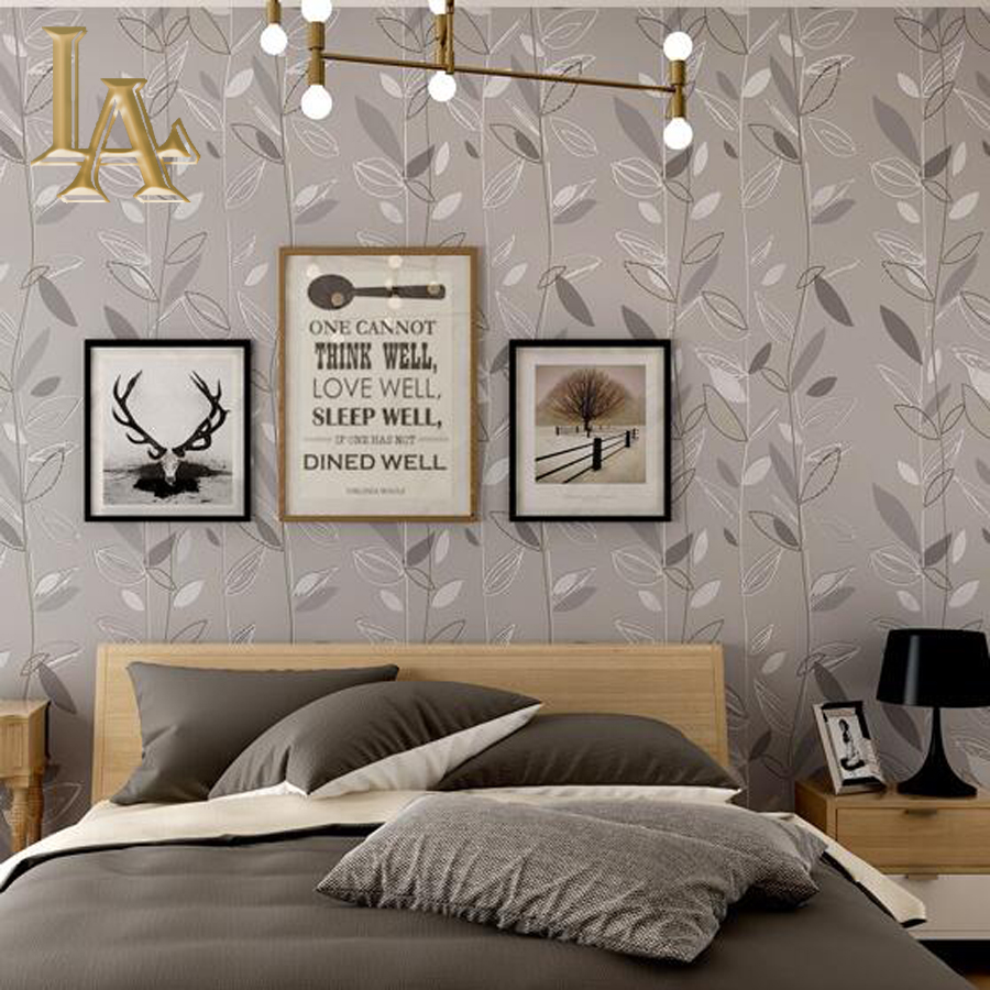 Buy grey blue purple leaf modern for Grey bedroom wallpaper