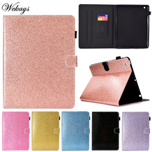 Wekays For Coque Apple Ipad 4 3 2 Glitter Bling Leather Flip Fundas Case For IPad2 IPad3 IPad4 Tablet Cover Cases For IPad 2 3 4 9h hd tempered glass membrane for ipad 2 ipad 3 ipad 4 screen protector film for ipad2 ipad3 ipad4