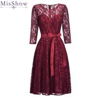 Robe De Soiree Short burgundy Red Short Cocktail Dresses 2019 Short Sleeve Vestidos Coctel Knee Length Party Homecoming Dress