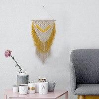 Bohemian Wall Hanging Macrame Wall Art Handmade Cotton Elegant Yellow Nordic Tapestry with Tassel Fabrics