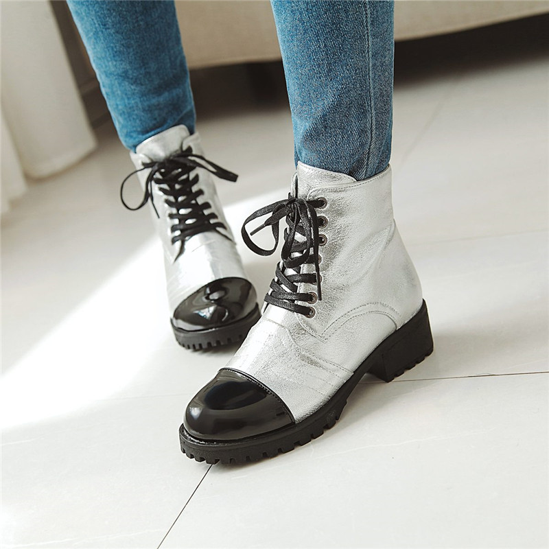 YMECHIC White Gold Silver Lace Up Gothic Combat Boots for Women Block Heel  Shoes Glitter Bling 86d3f843232d