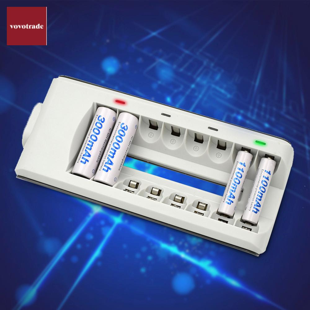 8 Slots Smart Fast Charger AA AAA Ni-MH / Ni-Cd Batteries Rechargeable Battery US EU AU UK Adapter Option Drop Shipping pkcell fast battery charger for 1 4pcs c lr14 d lr20 aa lr6 aaa lr03 ni mh ni cd and 2pcs 9v rechargeable batteries eu us plug