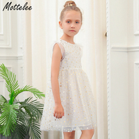 Mottelee Girls Star Dress Princess White Tulle Wedding Party Dresses 2018 Summer Pageant Kids Fancy Frock Design Outfit for Girl
