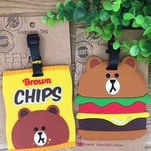 The new brown bear Hamburg bear modelling PVC soft plastic luggage tag Set of tags is hanged adorn large bus card(China)