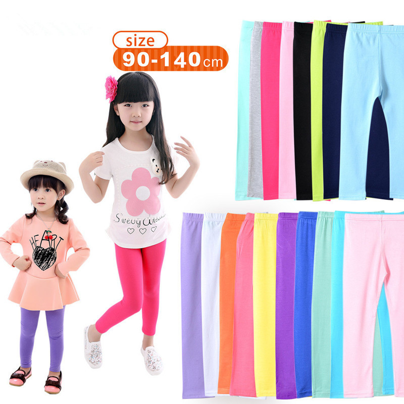 90-140CM Spring Summer Korean Version Children's Leggings Modal Candy Color Nine Minutes of Pants Girl's Elastic Leggings Pants