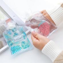 Мультяшная ручная бутылка для теплой воды Милая Мини Прозрачная грелка маленькая портативная грелка для рук сумка для хранения воды