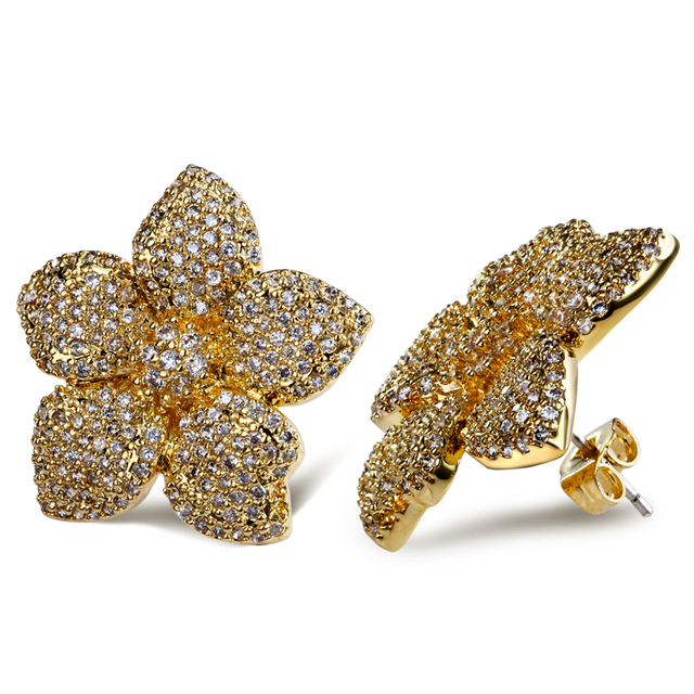 Trendy Luxury Flower Jewelry Gold and Rhodium plated with top quality Cubic Zirconia crystal Large flower stud earrings