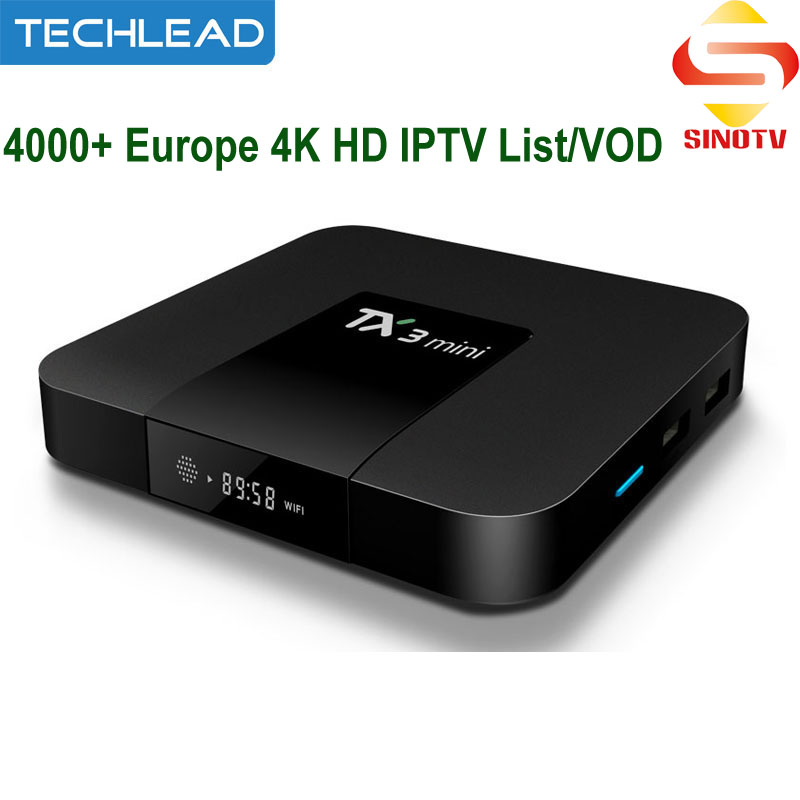 TX3 Mini Android IPTV Media Player With 12 Month Sinotv Canadian Portuguese Spanish Germany Spanish French UK Europe TV Channels