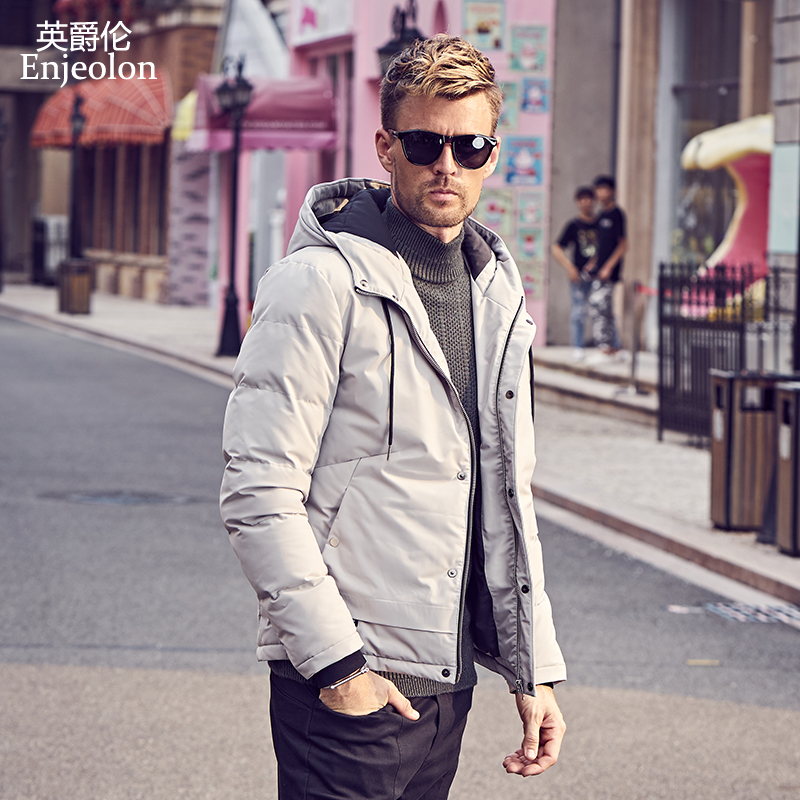 Enjeolon Brandwinter Cotton Padded Jacket Hoodies Men Thick Hoodies   Parka   Coat Male Quilted Winter Jacket Coat 3XL MF0726