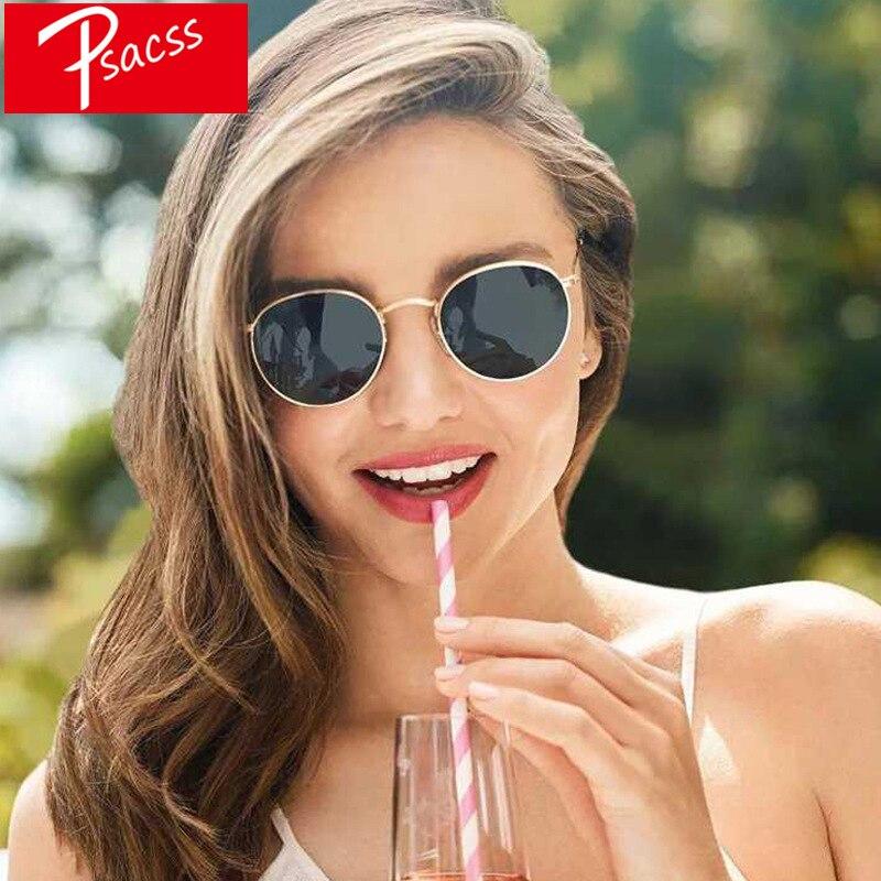 100% QualitäT Psacss Metall Runde Sonnenbrille Männer Frauen Vintage Regenbogen Farbe Marke Designer Sonnenbrille Mode Retro Oculos De Sol Feminino