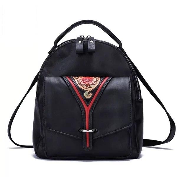 Китайский стиль, винтажный женский рюкзак из натуральной кожи ручной работы с цветочным узором, маленький черный женский рюкзак с цветочно...