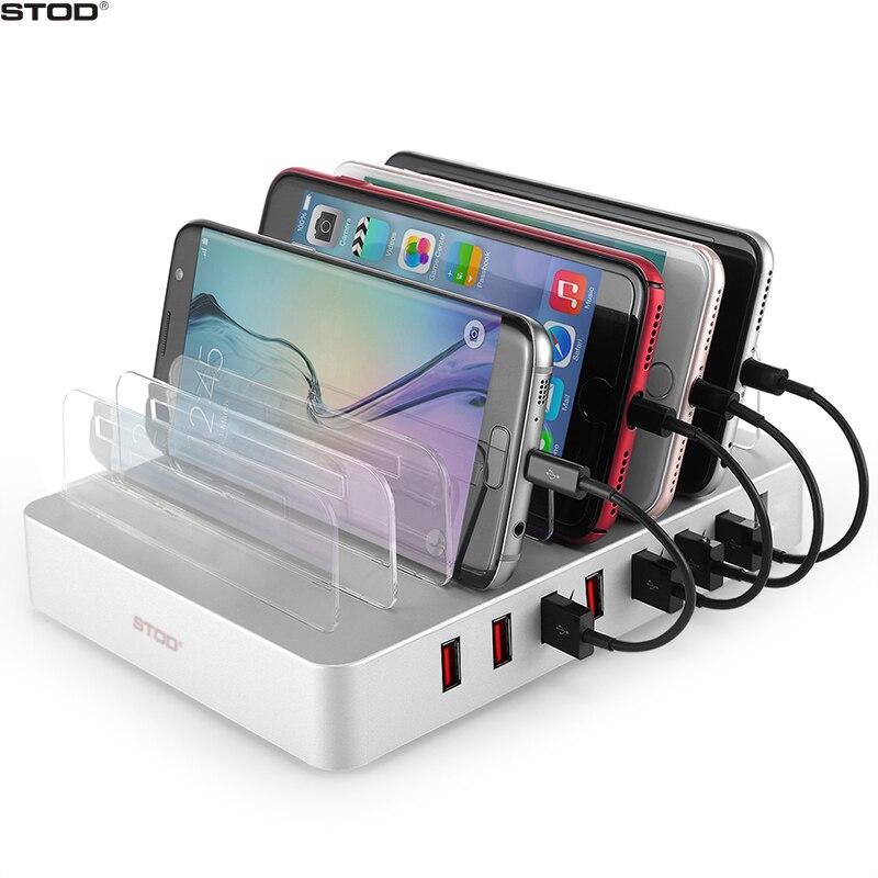 STOD chargeur de bureau station de support 8 USB 96 W charge rapide pour IPhone 5 S 6 6 S 7 Plus IPad Samsung Huawei ZTE Sony adaptateur de support