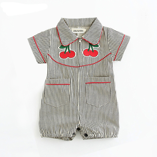 78a6114011fe Newborn Baby Rompers Girl Clothes Stripe Suit Short Sleeve Jumpsuit ...
