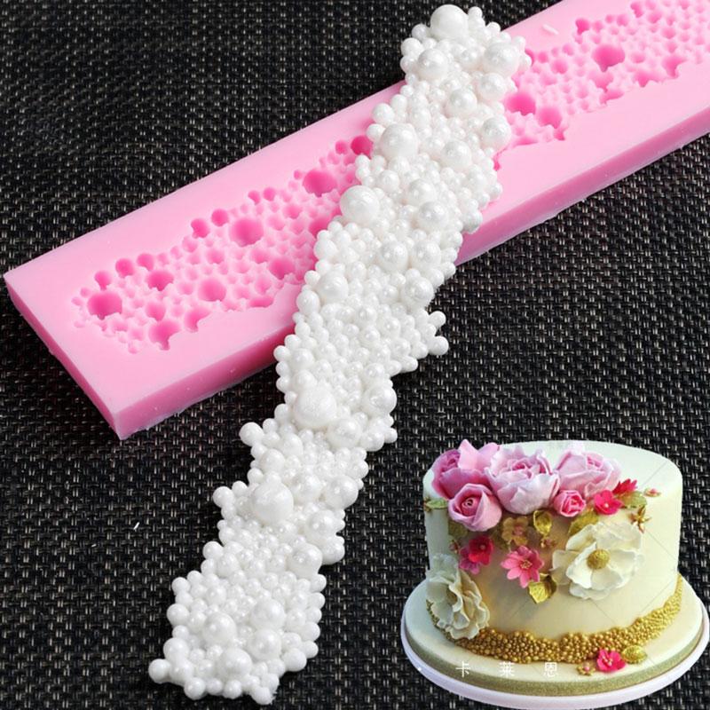 Силиконовая форма с цветочной каймой для помадки, инструменты для украшения тортов, формы для шоколадной мастики, Sugarcraft, кухонные принадлеж...