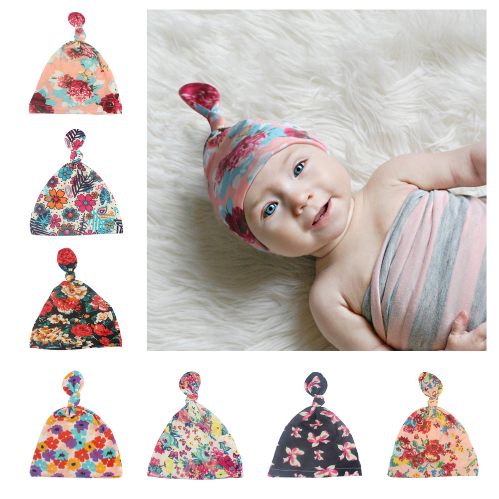 Baby turban hat with bow turbans for tots Infant toddler Topknot beanie Baby girls shower gift stretchy 1pc