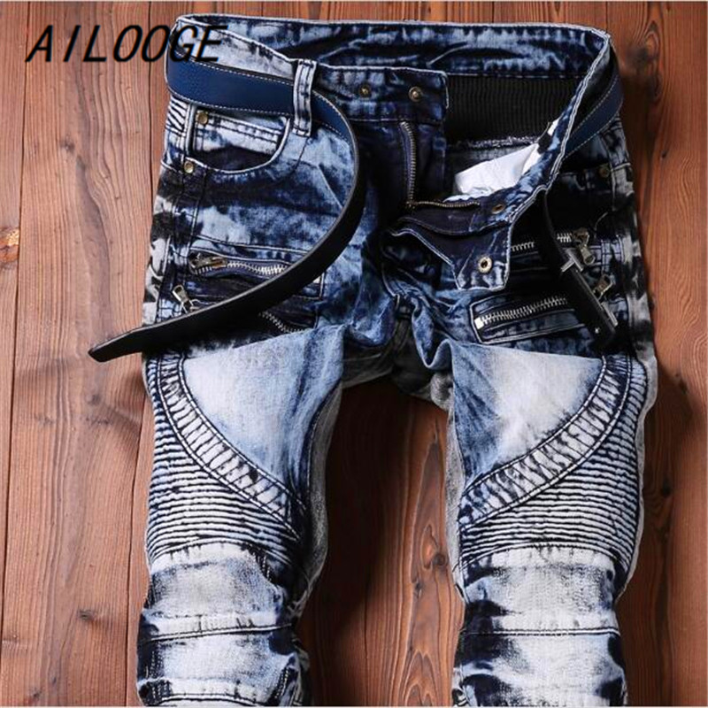 AILOOGE 2017 Men Jeans Ripped Biker Hole Denim Robin Patch Harem Straight Punk Rock Jeans For Men Pants