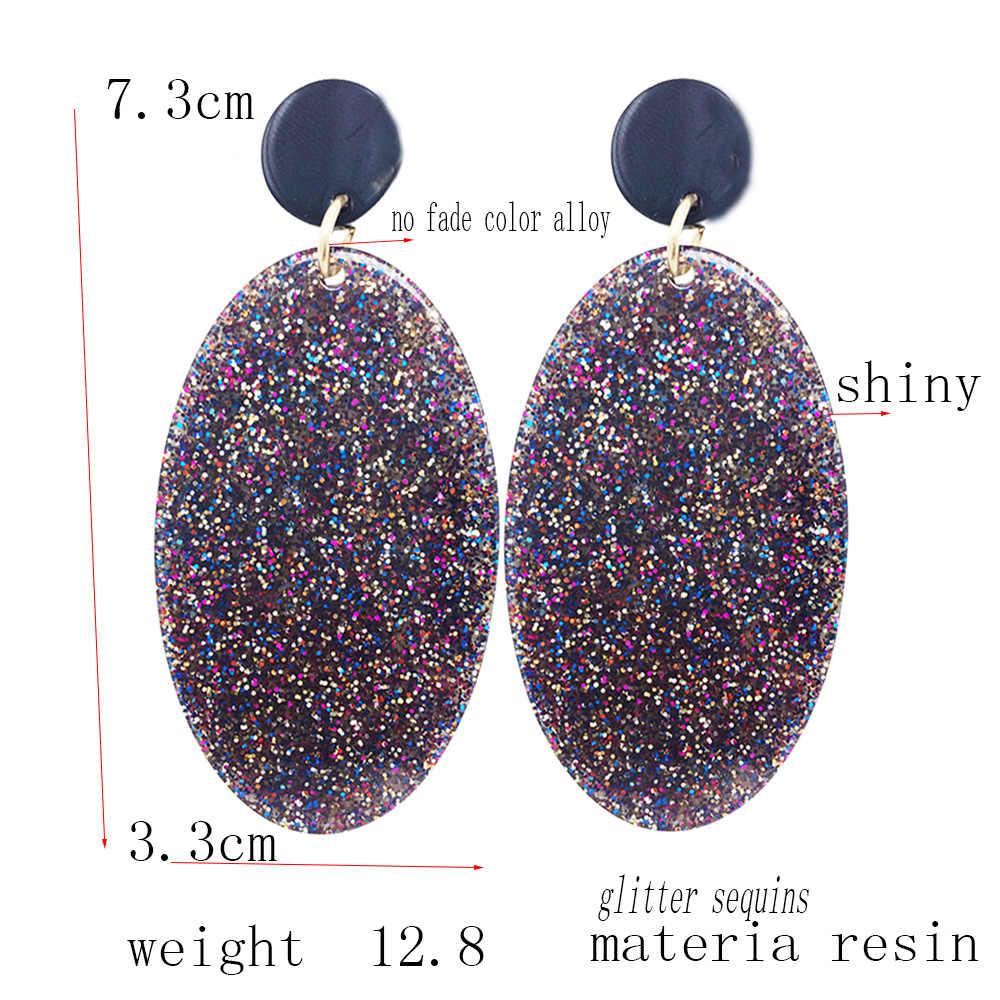 Dream-It-Mungkin Resin Berkilau Payet Glitter Anting-Anting Baru Baru Trendi Fashion Perhiasan Besar Panjang Anting-Anting Desain untuk wanita Baru