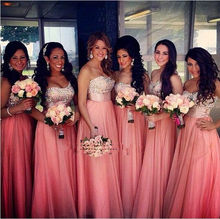 Elegant Strapless Chiffon Custom Made Coral Floor Length Bridesmaid Dresses Crystal Beaded Long Wedding Guest Dress to Party(China)