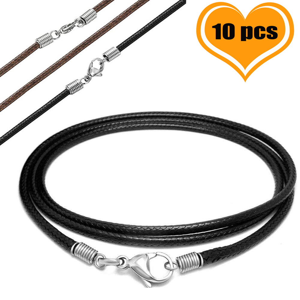 10 Pcs/lot Stainless Steel 2.5 Mm Black/Brown Leather Braided Rope Cords Necklaces & Pendant Findings Lobster Clasp String Cord
