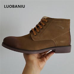 e649ce11c6c52 Genuine Leather Timber boots Men Boots Zapatos Hombre British Style Men  Shoes Lace-Up Winter