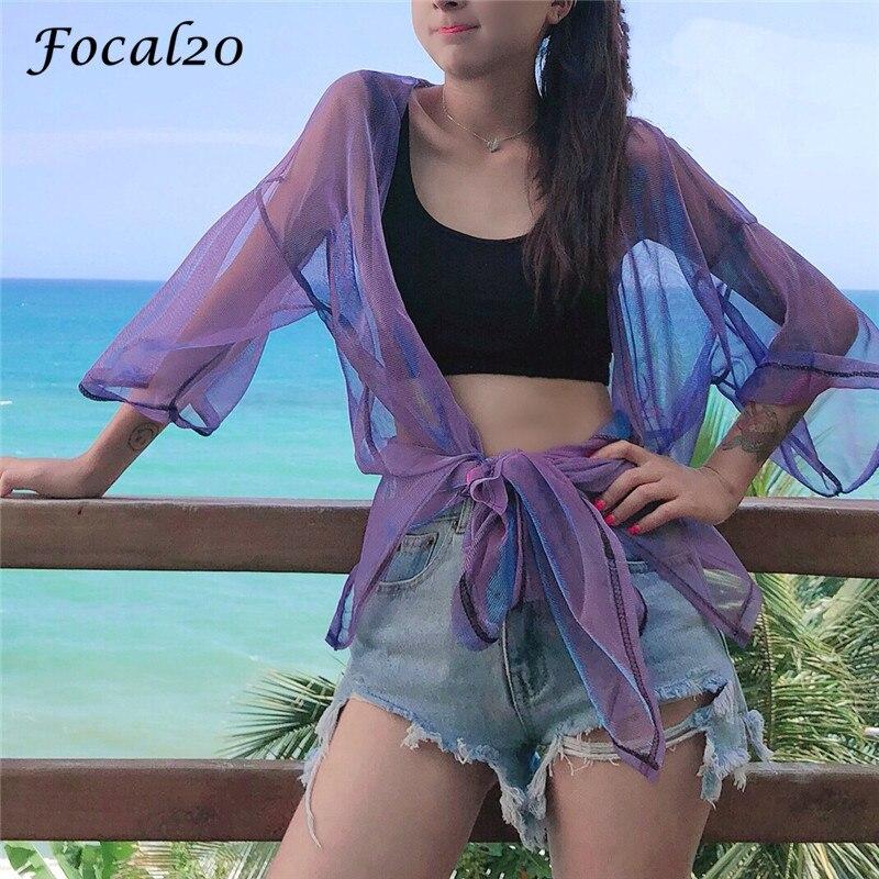 Focal20 Streetwear Mesh Laser Slit Women Cardigan Summer Long Sleeve Cardigan Sunproof Open Stitch Outwear 1