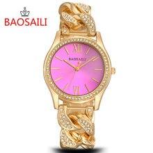 BAOSAILI Marque Femmes Diamant Montres Dames En Acier Inoxydable Chaîne Montre-Bracelet De Luxe Bracelet Montre relogio BS002