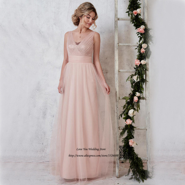 8ec9a32993c36 US $98.0 |Brautjungfernkleid Blush Pink Bridesmaid Dresses Long Party Tulle  Sequined Floor Length Wedding Guest Dress 2017 Vestido Madrina-in ...