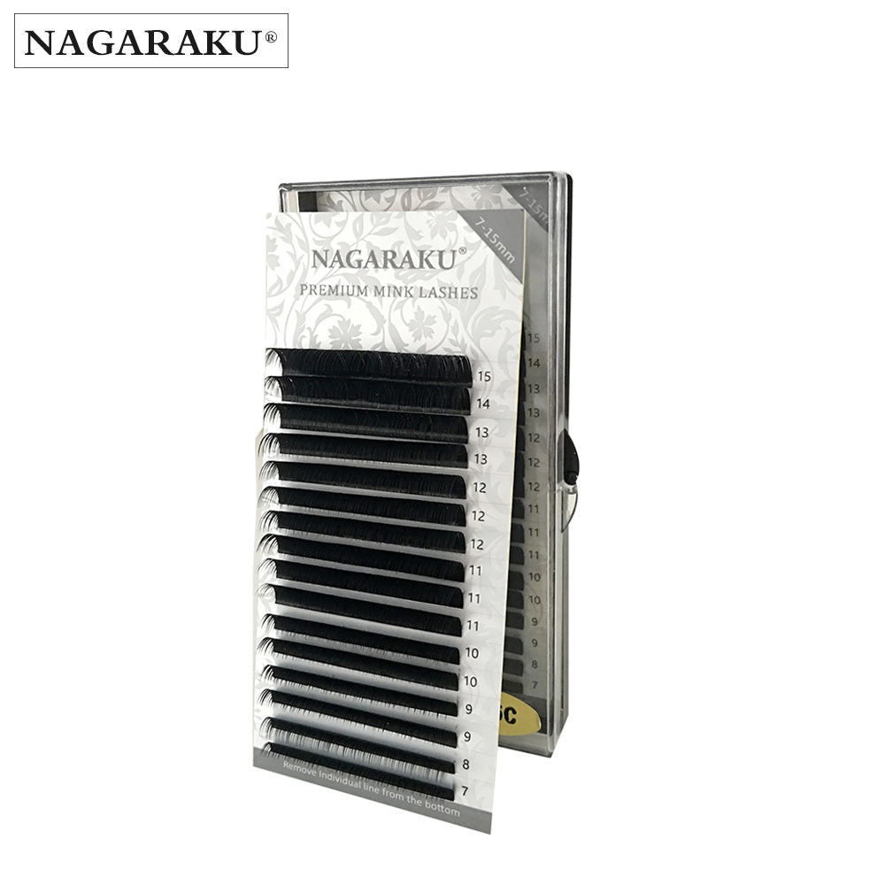 NAGARAKU 16 filas, 7 ~ 15mm mezcla, visón de la extensión de la pestaña de la alta calidad, extensión de pestañas individuales pestañas naturales maquiagem cilios