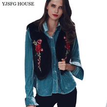 Yjsfgハウスファッション女性フェイクファーベスト花刺繍ノースリーブコートジャケット2017秋冬ベストチョッキ暖かい生き抜く