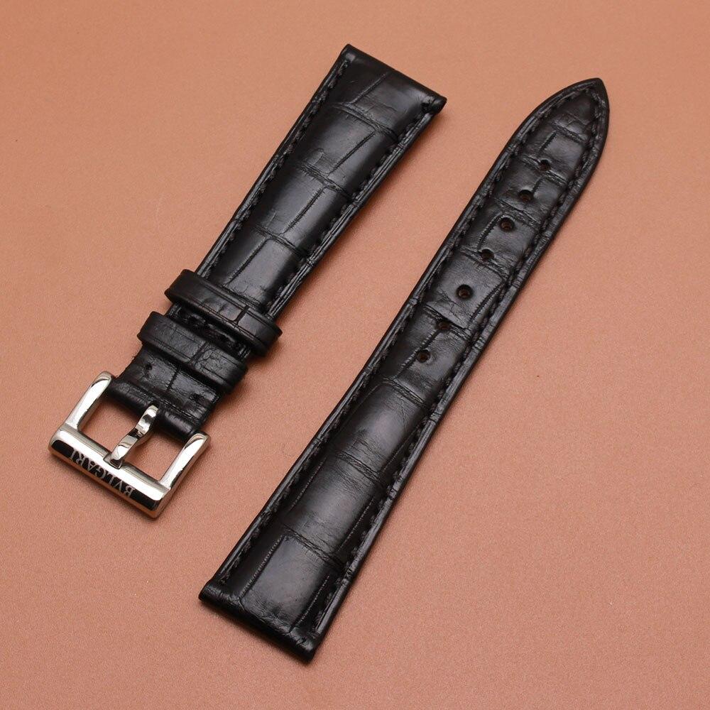Clair Stock Prix bracelet calibrées nouvelle alligator bracelet en cuir mens Noir 20mm boucle 16mm pour marque montre-bracelet remplacement