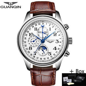 GUANQIN Men Watches Mechanical Luxury Date Sapphire Waterproof Calendar Masculino Top-Brand
