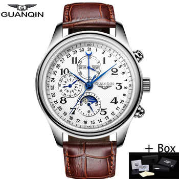 GUANQIN Automatic Mechanical Men Watches Top Brand Luxury Waterproof date Calendar Moon Leather Wristwatch Relogio Masculino A - DISCOUNT ITEM  61% OFF All Category