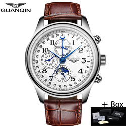 GUANQIN automático, relojes mecánicos de zafiro para hombres, marca superior, reloj de pulsera de cuero con calendario a prueba de agua de lujo, reloj Masculino