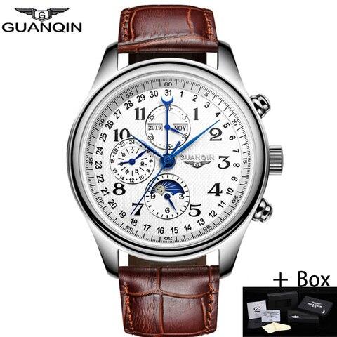Marca de Luxo à Prova Guanqin Automático Relógios Mecânicos Masculinos Dwaterproof Água Data Calendário Lua Couro Relógio Pulso Masculino um Mod. 115434