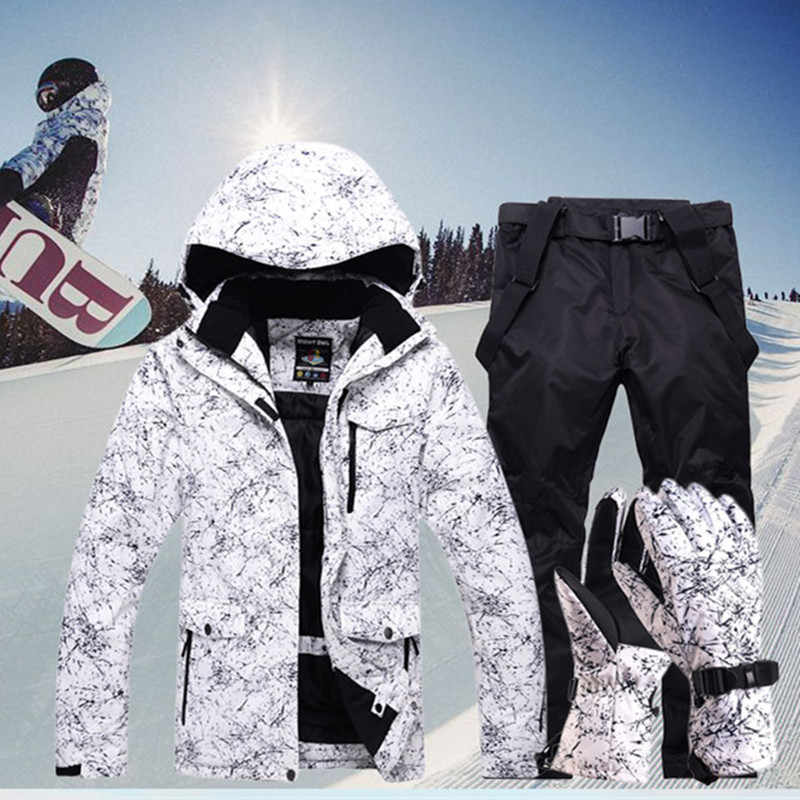 New Thicken Warm Ski Suit Men Women Winter Windproof Waterproof Skiing Gloves Snowboard Jacket Pants Suit Male Plus Size 3XL