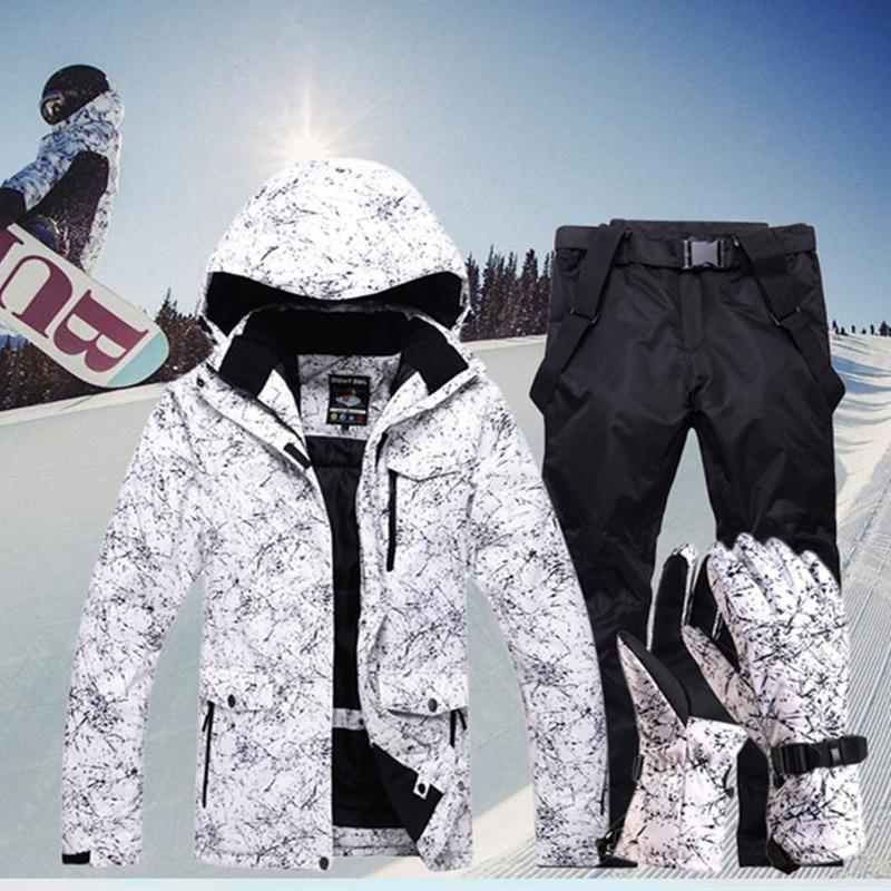 New Thicken Warm Ski Suit Men Women Winter Windproof Waterproof Skiing Gloves Snowboard Jacket Pants Suit