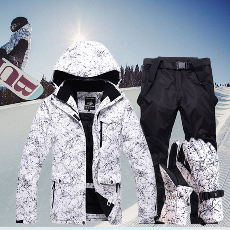 Nuevo espesar cálido traje de esquí traje de las mujeres de los hombres de invierno a prueba de viento impermeable guantes de esquí Snowboard pantalones de chaqueta traje de hombre Plus tamaño 3XL