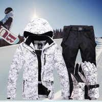 Nuevo traje de esquí cálido grueso hombres mujeres invierno impermeable esquí guantes chaqueta de Snowboard pantalones traje masculino talla grande 3XL