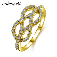 AINUOSHI 14K Fashion Weave Cluster Ring 14K Solid Yellow Gold Sona Diamond Birthday Wedding Jewelry Valentines Gift for Women