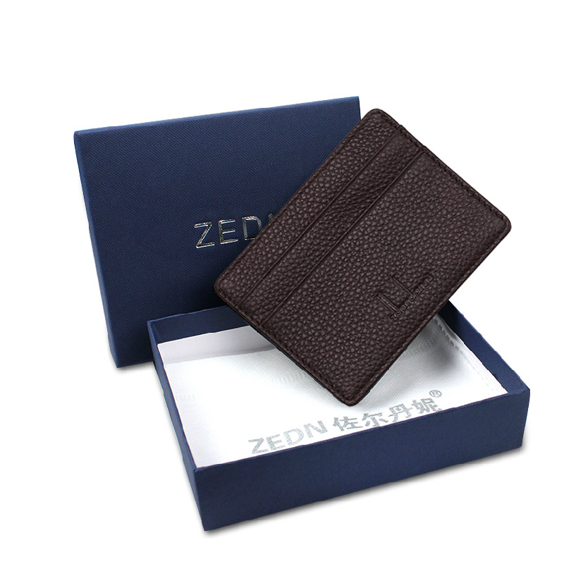 10 Colour Ultra-thin Card Holder Mini wallets small Genuine Leather purse real leather Card Case With 4 Slots Fashion Style New